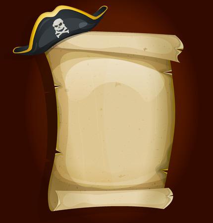 mapa del tesoro: Ilustración de un sombrero tricornio pirata de la historieta se asentaron en la vieja señal de pergamino