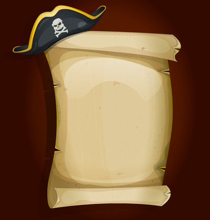 Illustration of a cartoon pirate tricorn hat settled on old parchment scroll sign Illustration