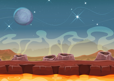 Illustration of a seamless cartoon funny sci-fi alien planet landscape background, with layers for parallax and volcano crater, magma river and stars for ui game