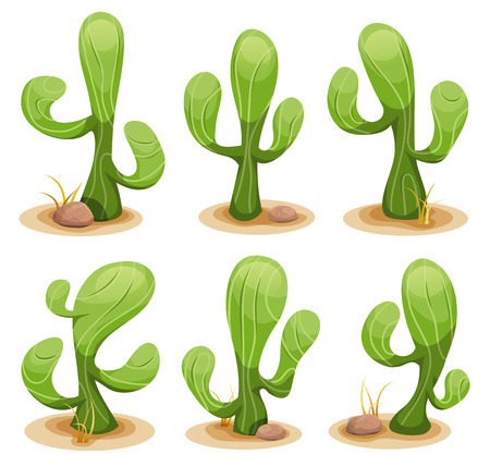 desert cactus: Illustration of a funny set of comic mexican desert cactus plants, with some rocks and dry leaves of grass Illustration