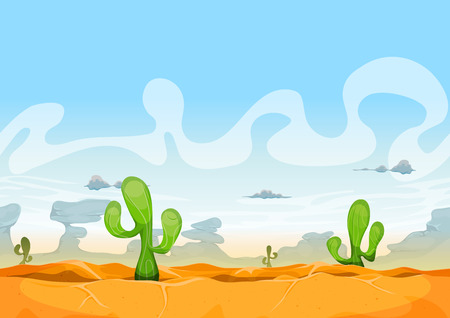 western: Illustration of a seamless desert landscape background in the sunshine for ui game Illustration