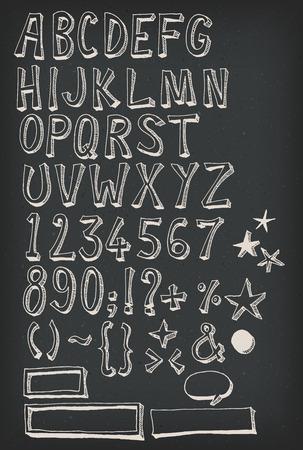 signo pesos: Ilustración de una mano dibuja bosquejada y garabateó letras y números del alfabeto de ABC con caracteres de la fuente, también con símbolos ortográficos y signos de puntuación, bocadillos de texto y el marco en el fondo pizarra Vectores