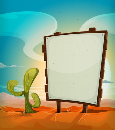 grass and sky: Illustration of a vintage cartoon mexican desert landscape in the sunrise, in summer season, with cactus plant and blank white paper on a country wood sign for travel advertisement message or holidays vacations
