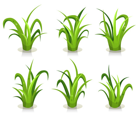 summer cartoon: Illustration of a set of green leaves of grass design elements, for use to create nature landscape Illustration