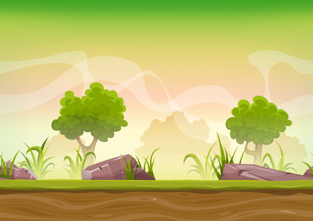 Illustration of a cartoon seamless green nature forest background with grass, rocks and trees for ui game Vettoriali