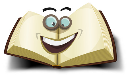 open bible: Illustration of a cartoon opened big book character icon with funny eyes glasses, for search engine or online library mascot