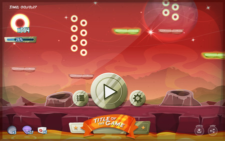 Illustration of a funny graphic platform game user interface design, in cartoon style with basic buttons and icons for tablet pc, on seamless scifi alien planet landscape