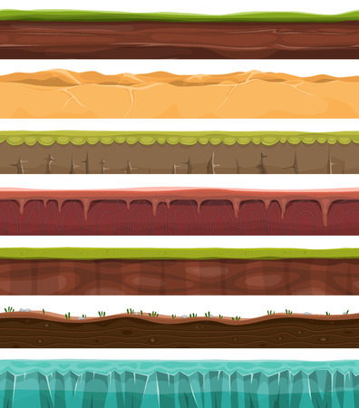 game: Illustration of a set of seamless grounds, soils and land foreground area with ice, desert, beach, sand, roots and grass layers with underground patterns for ui game