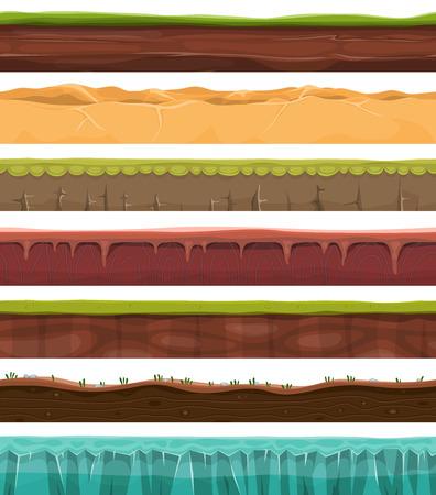 terreno: Illustrazione di una serie di motivi senza soluzione di continuit�, suoli e terreni area di primo piano con ghiaccio, deserto, spiaggia, sabbia, radici e erba strati con modelli sotterranee per gioco ui
