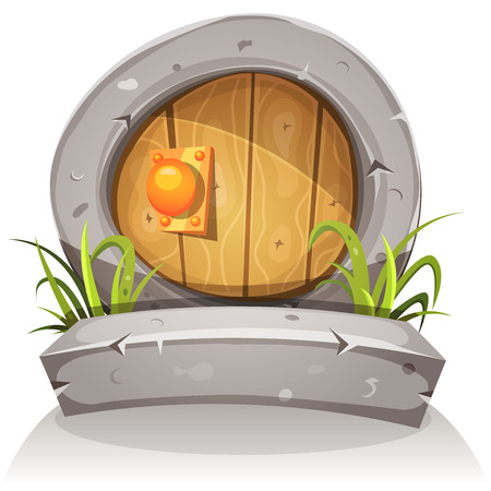 Illustration of a cartoon comic hobbit or dwarf like funny little rounded wood door with stone doorframe for fantasy ui game Vectores