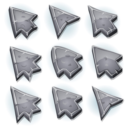 ui: Illustration of a set of funny cartoon design stone and rock computer icons, cursor and arrows signs for funny ui game environment