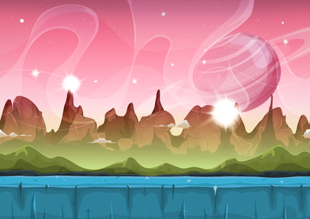 Illustration of a cartoon seamless funny sci-fi alien planet landscape background, with layers for parallax including weird mountains range, stars and planets for ui game Vectores