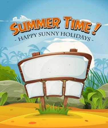 segno: Illustrazione di uno sfondo estate spiaggia tropicale, con sabbia, palme e cielo lucido per le vacanze e viaggi vacanze Vettoriali