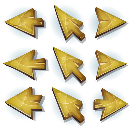 cursor: Illustration of a set of funny cartoon design wooden computer icons, cursor and arrows signs for funny ui game environment