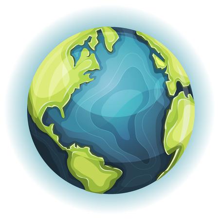 pelota caricatura: Ilustración de un diseño de dibujos animados planeta tierra globo icono con la mano dibujada continente esquemática y fronteras oceánicas