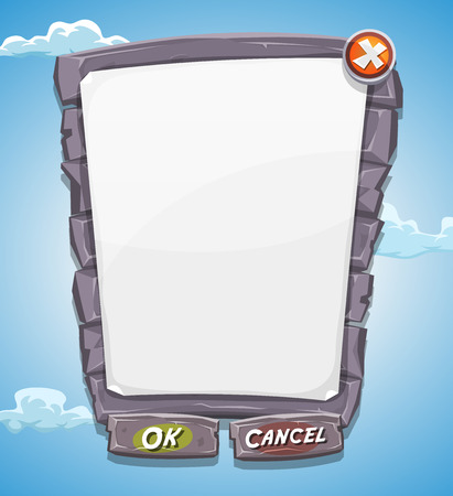 set in stone: Illustration of a funny cartoon design ui game big stony and rock information panel with buttons, for terms and conditions agreement app on tablet pc, with blue summer sky background