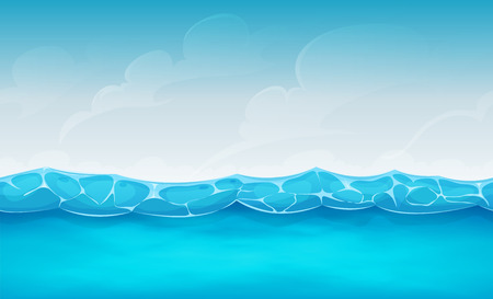 Illustration of cartoon wide seamless water waves and ocean patterns, for summer holidays vacations landscape, or repetitive background for ui game