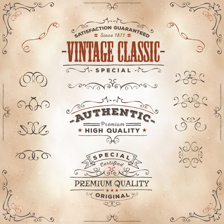 Illustration of a set of hand drawn frames, sketched banners, floral patterns, ribbons, and graphic design elements on vintage old paper background