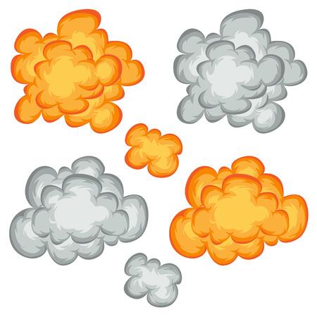 nubes caricatura: Ilustración de un conjunto de cómic explosión, explosión y bomba de fuego de dibujos animados, explosión y símbolos que estallan Vectores