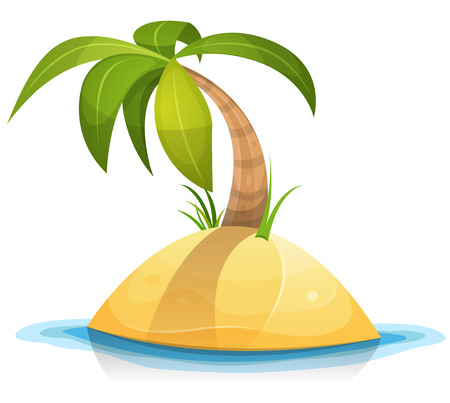 coconut trees: Illustration of a cartoon tropical palm tree or coconut on little desert island beach