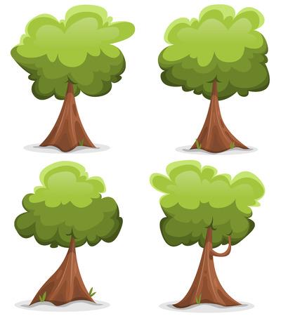 roble arbol: Ilustración de un conjunto de dibujos animados o de primavera verano árboles forestales con grandes troncos divertidos, de encargo paisajes verdes y juegos ui Vectores