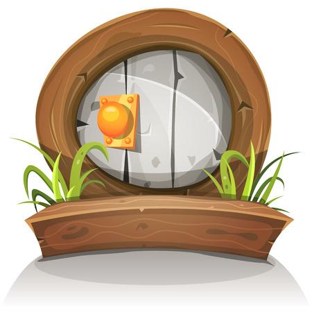 hadas caricatura: Ilustración de un enano cómico divertido como puerta de piedra redondeada con marco de la puerta de madera de la fantasía juego ui Vectores