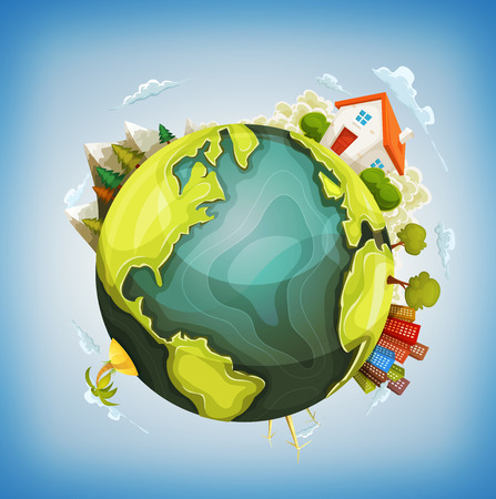 Illustration of a cartoon design earth planet globe with environment elements around, house, mountains, windmills, cityscape and ocean Vectores