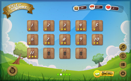 Illustration of a funny graphic game user interface background, in cartoon style with spring nature landscape, basic buttons and functions, status bar, vintage retro background, for wide screen tablet Иллюстрация
