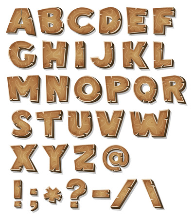 Illustration of a set of wooden comic ABC letters and font characters also containing punctuation symbols Stock Illustratie