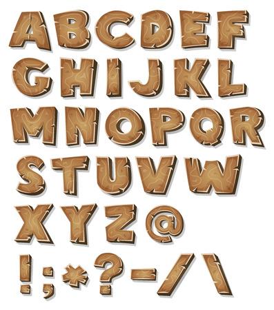 Illustration d'un ensemble de lettres ABC comiques en bois et des caractères de police contenant aussi des symboles de ponctuation Banque d'images - 43651623