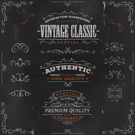 Illustration of a set of hand drawn frames, sketched banners, floral patterns, ribbons, and graphic design elements on vintage chalkboard background
