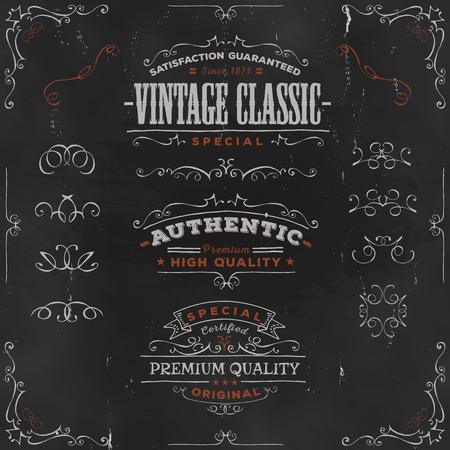 Illustration of a set of hand drawn frames, sketched banners, floral patterns, ribbons, and graphic design elements on vintage chalkboard background