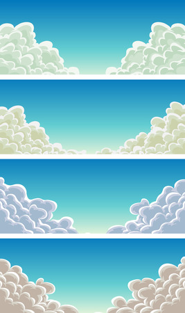 gust: Illustration of a set of funny cartoon cloudscape, with smoke shapes for filling your sky scenes or ui games backgrounds