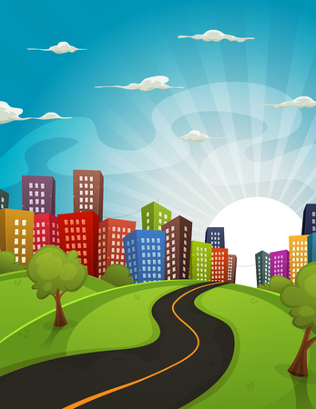 horizon: Illustration of a cartoon road driving from fields and meadows landscape to downtown city in spring or summer season, with horizon and sun rising behind