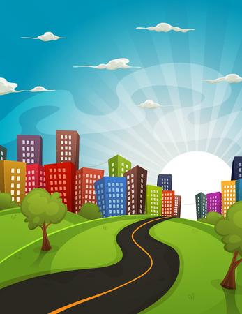 Ilustración de un camino de dibujos animados de conducción de los campos y prados paisaje del centro de la ciudad en primavera o verano, con el horizonte y el sol se levanta detrás