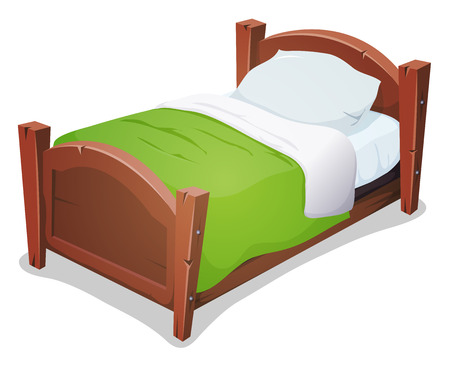 Illustration of a cartoon wooden children bed for boys and girls with pillows and green blanket