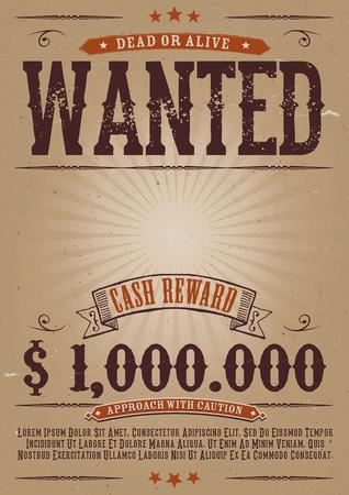 Ilustración de un viejo elegante plantilla del cartel cartel buscado vintage, con la inscripción muerto o vivo, recompensa en efectivo el dinero como en películas del oeste