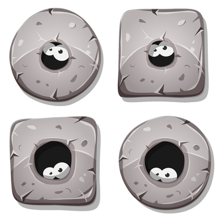 hollows: Illustration of a set of funny cartoon design stone and rock blocks icons, circles, rings, squares, with funny pet, animal or creature eyes inside hollows