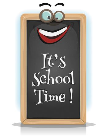 pedagogics: Illustration of a funny cartoon chalkboard character with place to put your text in, for happy re-entry and school season, or game ui pedagogics app on tablet pc Illustration