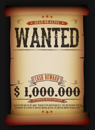 pergamino: Ilustración de una vendimia quería plantilla del cartel cartel muerto o vivo en el antiguo rollo de pergamino, con recompensa en efectivo como en las películas del oeste
