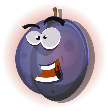 prune: Illustration of a cartoon funny healthy and juicy plum fruit character, for summer and fall jam and marmalade