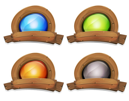 wood sign: Illustration of a cartoon design wooden badge and banner with enlightened screen inside, for farm and agriculture business or ui game
