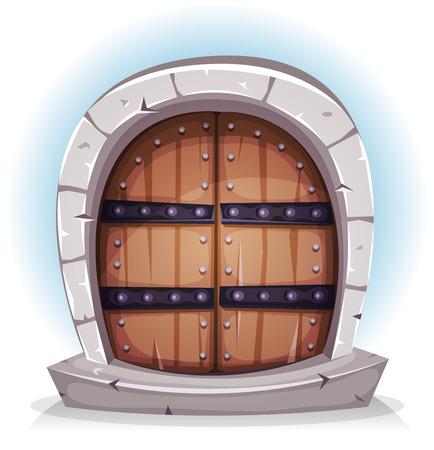 Ilustración de un castillo cómico clavado puerta de madera con marco de la puerta de piedra, por la fortaleza y la casa medieval Foto de archivo - 44521396