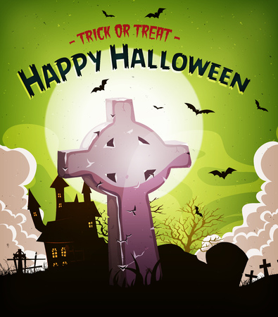 fog: Illustration of a cartoon halloween holidays spooky horror background, with christian tombstone inside graveyard, fog, full moon and bats Illustration