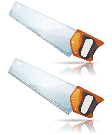 serrucho: Ilustración de una herramienta de diseño de dibujos animados sierra de mano con dientes afilados y mango, con y sin protección de barra de plástico, para el equipo de la madera de construcción y carpintería aislado en fondo blanco