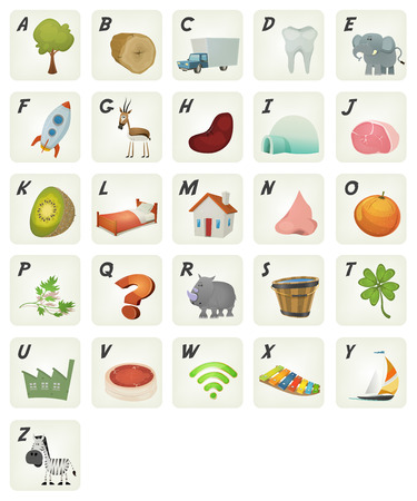 cartoon wood bucket: Illustration of a set of cute cartoon ABC letters and font characters, in french language, from tree to zebra for school and preschool kids Illustration
