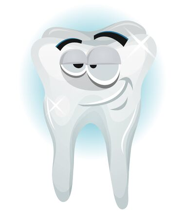 molar: Illustration of a cartoon funny tooth character, happy healthy molar feeling quiet and smiling with no need to go the dentist Illustration