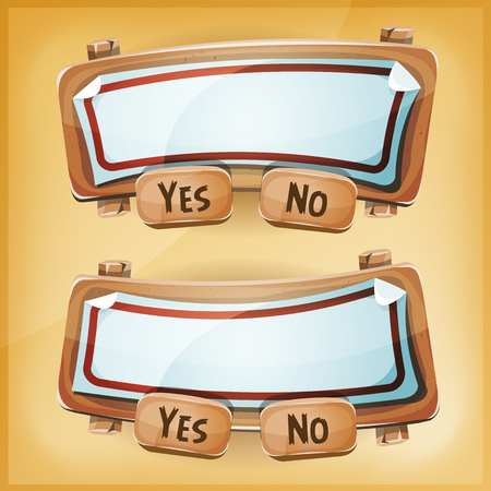 games: Illustration of a funny cartoon simple ui game cardboard information panel, with buttons for questions, options, acceptance, terms and conditions agreement app on tablet pc