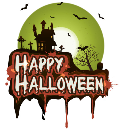 horror castle: Illustration of a cartoon happy halloween holidays spooky horror background, with haunted castle, tombstone, graveyard, fog, full moon and vampire bats Illustration