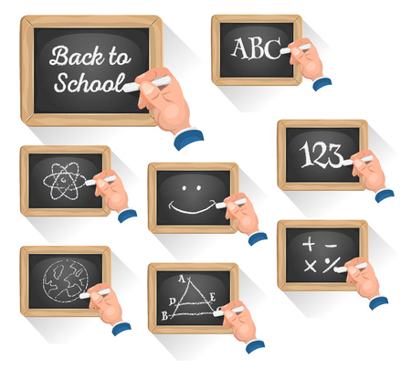 pedagogics: Illustration of a set of cartoon school chalkboard signs, with teachers hand drawing concept and topics, for science, happy re-entry, or game ui pedagogics on tablet pc